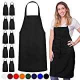 GREEN LIFESTYLE 12 Pack Bib Apron - Unisex Black Apron Bulk Machine Washable for Kitchen Crafting BBQ Drawing Outdoors (Pack of 12, Black)