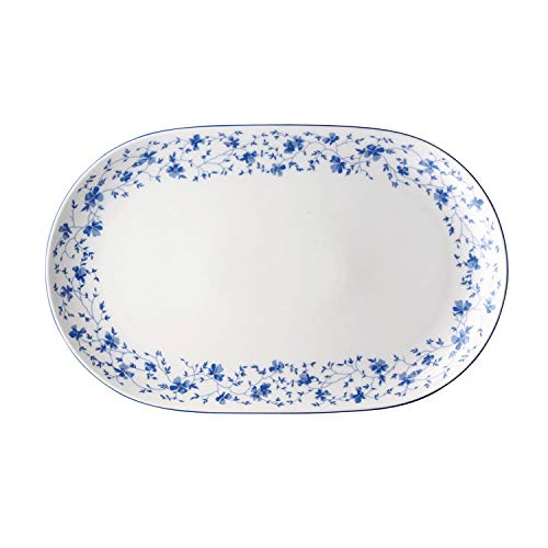 Arzberg Form 1382 Plat, Ovale, Plat Accompagnement, Plat de Service, Fleurs bleues, Porcelaine, 32 cm, 41382-607671-12732