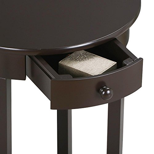 YAHEETECH Round Sofa Side End Table with Drawer and Shelf Nightstand Accent Tables for Living Room Bedroom Espresso