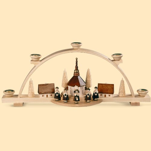 Müller German candle arch Carolers, small village, length 47 cm / 19 inch, natural, original Erzgebirge by Mueller Seiffen MU 12416