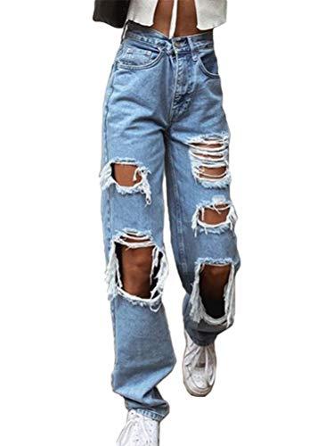 Onsoyours Damen Jeans mit Hoher Taille Slim Fit Stretch Schlank Jeanshose Push Up Denim Pants Boyfriend Löcher Zerissene Jeans Knopfleiste D Blau M