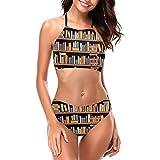 Libri Scaffali Scaletta Boxe Bikini Donna Halterneck Top e Set Costumi da Bagno Spiaggia Nuoto XL
