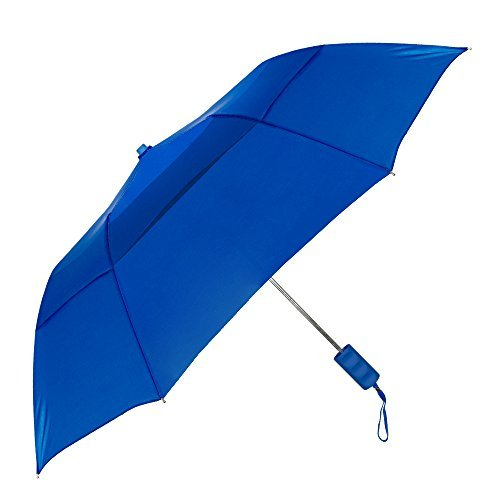 """StrombergBrand""""Travelers"""" Auto-Open, Folding Compact Umbrella With Vented Canopy, White, One Size"""