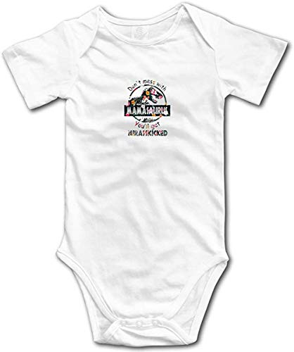 Caswyy Don't Mess with Mamasaurus Romper Unisex Baby Bodysuit Short Sleeve Jumpsuit Onesies for Baby White