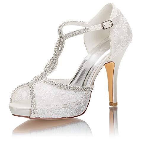 Emily Bridal Zapatos Nupciales Encaje Peep Toe Rhinestones Correa de Tobillo Zapatos...