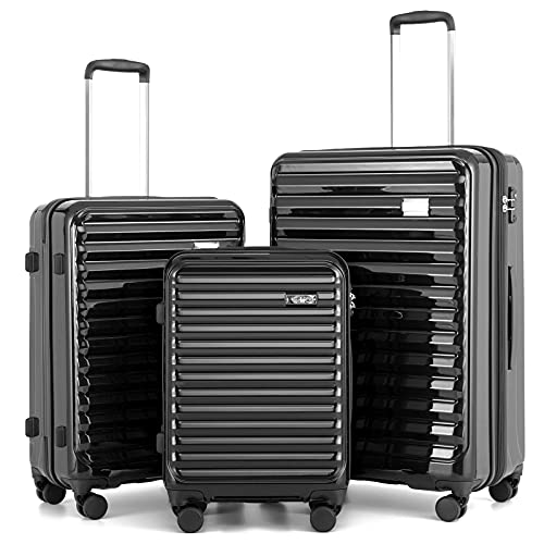 """Coolife Luggage Suitcase 3 Piece Set expandable (only 28"""") ABS+PC Spinner suitcase with TSA Lock carry on 20 in 24in 28in (BLACK)"""