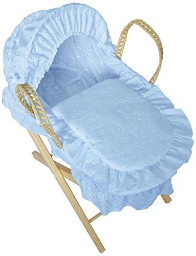 Cuddles Colección Muñecas Moses Cesta Azul Bordado anglaise con soporte
