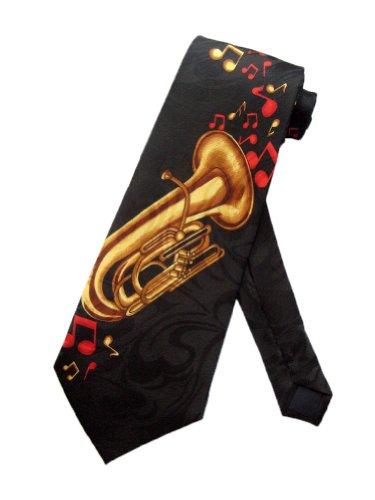 Steven Harris Mens Tuba Jazz Marching Band Necktie - Black - One Size Neck Tie