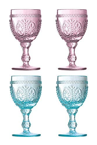 Premier Housewares–Copas de Vino Fleur, Rosa/Azul, 8x 8x 15cm