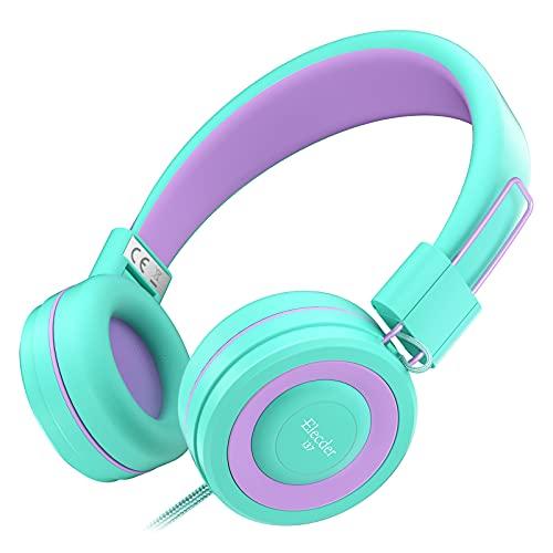 Elecder i37 Kids Headphones Children Girls Boys Teens Foldable Adjustable On Ear Headphones 3.5mm Jack Compatible Cellphones Computer MP3/4 Kindle School Tablet Green/Purple