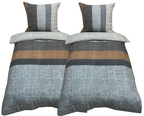 Leonado Vicenti 4 TLG. / 2x2 TLG. Bettwäsche 135x200 cm gestreift in grau beige braun anthrazit Streifen aus Fleece Set mit Reißverschluss im Doppelpack