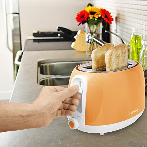 Sencor 2-slot High Lift Toaster with Safe Cool Touch Technology, Medium, Peach Orange