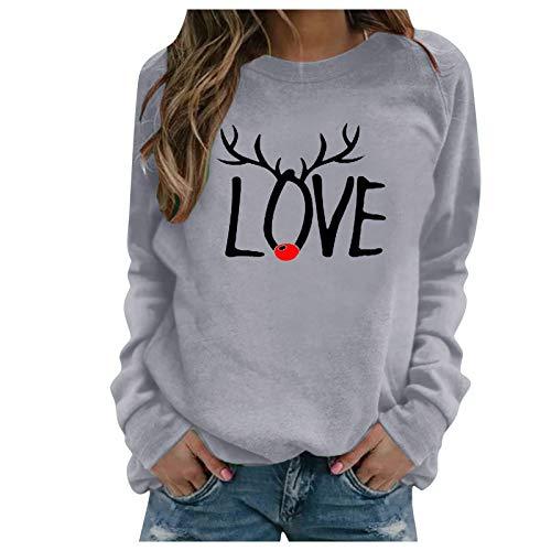 JUTOO Damen Weihnachtsdruck O-Ausschnitt Bluse T-Shirt Langarm Casual Top (Grau,XXXL)