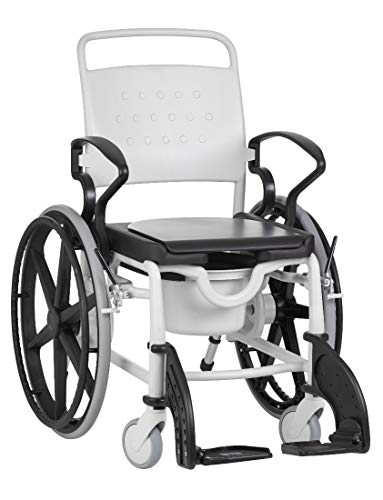 FabaCare Dusch- Toilettenrollstuhl Miami, 24 Zoll Räder, bis 150 kg, made in Germany, Premium Toilettenstuhl, Duschstuhl fahrbar, Rollstuhl mit WC Eimer, Grau-Schwarz