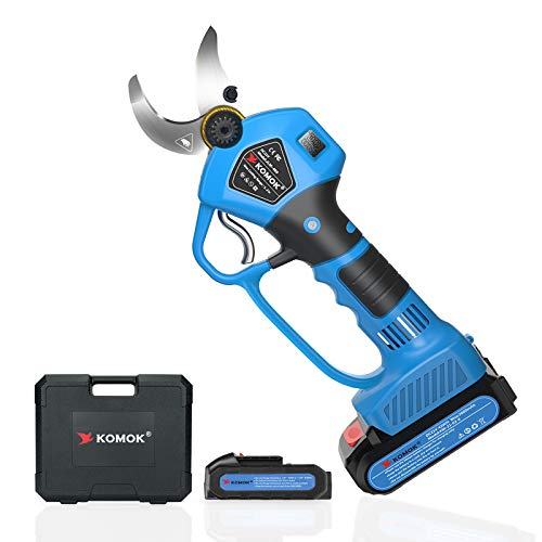 KOMOK Professional Cordless Electric Pruning Shears Secateurs, Smart Garden Orchard Tools 2 Rechargeable 2Ah Battery Tree Branch Pruner with Power Display 35mm 1.38Inch, 6-8 Working Hours