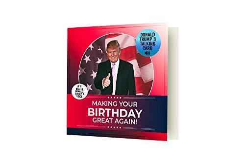 Talking Trump Geburtstagskarte – Präsidentialhymne plus echte Stimme, Geburtstagsbotschaft von Trump – Ein Geburtstagsgruß von dem US-amerikanischen US-amerikanischen Amerika – inkl. Umschlag