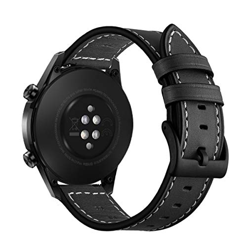 Aimtel Armband Kompatibel mit Huawei Watch GT 2e Armband/Huawei Watch GT 2 46mm / GT Classic/Sport/Active, 22mm Lederarmband Ersatzarmband für Huawei GT 2 46mm und Huawei GT 2e(Schwarz)
