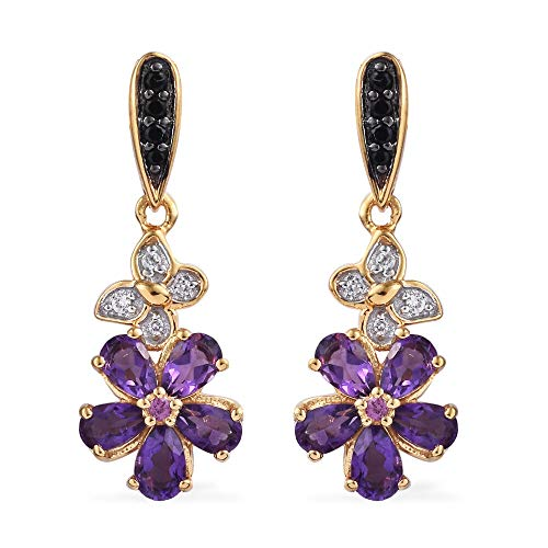 GP Multigemstones Floral Drop Earrings for Women in 14K Gold Over Silver with Amethyst, Rhodolite Garnet, Black Spinel 2.25 Ct, Jewellery