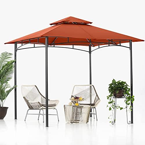 ABCCANOPY 2.5x2.5m Patio Pavillon für Patios Doppeldachweichdach Garten Hinterhof-Pavillon für Schatten und Regen,Rost rot