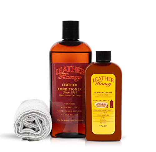 Leather Honey Leather Conditioner & Cleaning Kit For Use on Leather Apparel, Furniture, Auto Interiors, Shoes, Bags and Accessories. 8oz Conditioner, Concentrated Cleaner and a Lint-Free Cloth