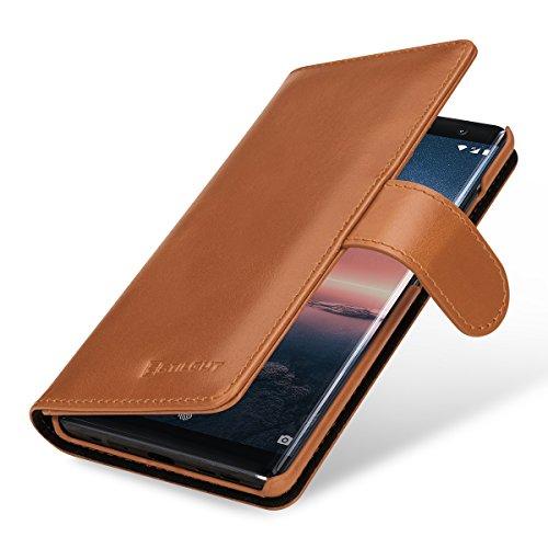 StilGut Talis Schutz-Hülle kompatibel mit Nokia 8 Sirocco mit Kreditkarten-Fächern aus echtem Leder, Cognac