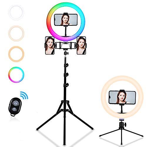 FOSITAN 10 Zoll Ringlicht Kit APP Steuerung RGB Ringleuchte mit Stativ, Desktop Ständer,3 Farben and Stufenloses Dimmen für Live Streaming, Videoaufnahme, YouTube und Make-up