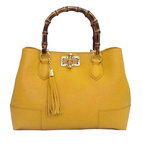 DEEP ROSE Borsa in Vera Pelle Donna Made in Italy a spalla mano shopper pelle con tracolla BAG MODELLO GINEVRA BAMBU borsa da giorno capiente