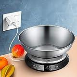 Bilancia digitale da cucina, ricaricabile tramite USB, in acciaio inossidabile, con ciotola rimovibile per 5 kg, impermeabile, pulsante touch invisibile, funzione tara, display a LED