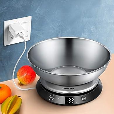 Foto di Bilancia digitale da cucina, ricaricabile tramite USB, in acciaio inox, con ciotola staccabile da 5 kg, scala digitale elettrica, pulsante a sfioramento invisibile, funzione tara, display a LED