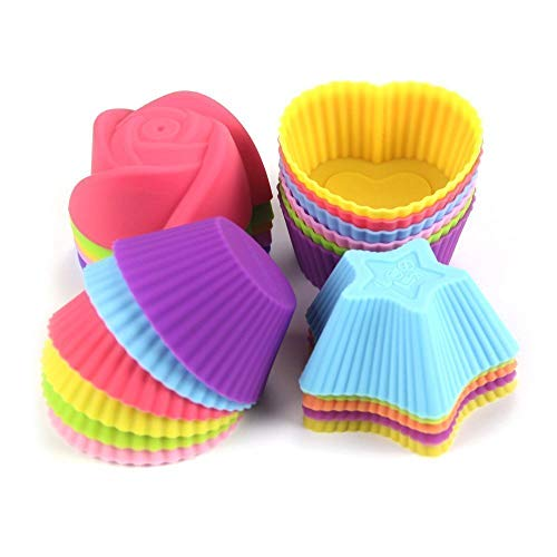 Silicone Cupcake Baking Cups Molds Assorted Colors Silicon Bakeware Mini Cupcake Mold Holders Liners Baking Supplies Set 12 Pieces Cups Container for Muffin Cake Liner by Chuzy Chef Chuzy Chef® SYNCHKG078932
