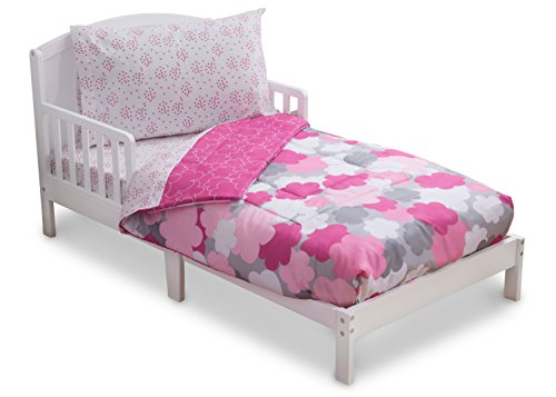 Toddler Bedding Set | Girls 4 Piece Collection | Fitted Sheet, Flat Top Sheet w/ Elastic bottom, Fitted Comforter w/ Elastic bottom, Pillowcase | Delta Children | Pink Clouds | Hot Pink Grey
