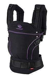 manduca First Baby Carrier > BlackLine Midnight Purple < Mochila Portabebes con Cinturon Ergonomico & Extension de Espalda, Algodón Orgánico, para bebés de 3,5 a 20 kg (negro-púrpura/violeta)