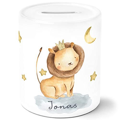 SpecialMe® Kinder Spardose mit NamenTier-Motive Nashorn Löwe Elefant Watercolor Sparschwein Keramik Löwe weiß Unisize