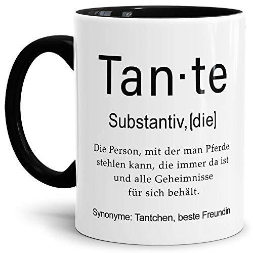 Tassendruck Tasse mit Definition Tante - Wörterbuch/Geschenk-Idee/Dictionary/Beruf/Job/Arbeit/Familie/Innen & Henkel Schwarz