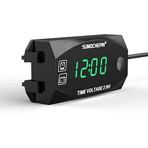 YONGYAO 6V-30V2-In-1 12V Voltmeter Zeitanzeige Zeitplan Messung Batteriezähler Für Motorrad Scooter Elektrofahrzeug Modifikation - Grün