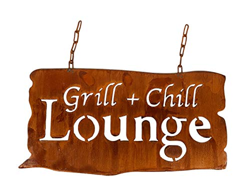 Blümelhuber großes wetterfestes Edelrost Schild Grill+Chill Lounge zum Aufhängen