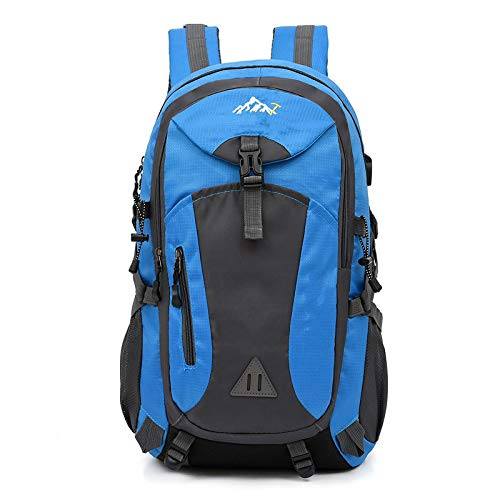 yqs Mochila 40L unisex impermeable hombres mochila viaje paquete deportes bolsa al aire libre montañismo senderismo escalada camping mochila para hombre azul