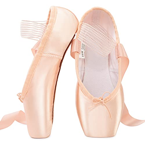 Soudittur Girls Women Ballet Pointe Shoes Professional Pink Satin Dance Shoes with Stitched Elastic Straps and Silicone Toe Pads (Please Choose One Size Larger) (Numeric_8_Point_5)