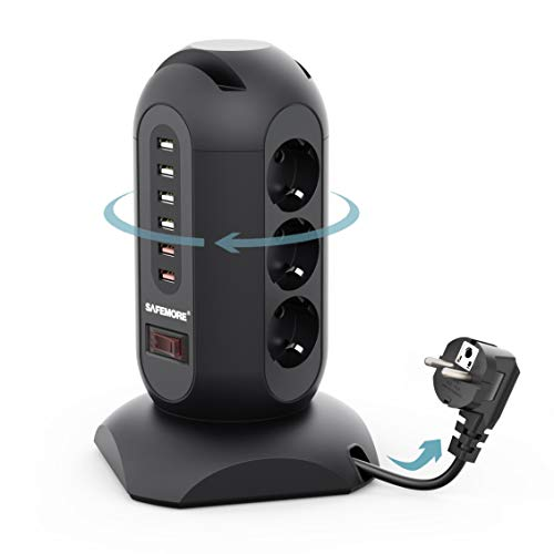 SAFEMORE - Regleta con 9 enchufes y 6 puertos USB (5 V/3,4 A) con cable retráctil de 1,8 m, protección contra sobretensión y cortocircuito, color negro