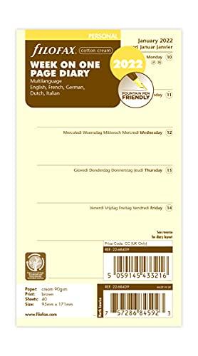 Filofax Agenda personale settimanale per pagina 5 lingue, cotone crema 2022