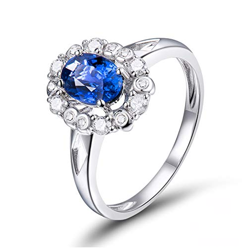 AnazoZ Anillo Mujer Zafiro,Anillo para Mujer Oro Blanco 18K Plata Azul Flor Oval Zafiro Azul 1ct Diamante 0.24ct Talla 9,5