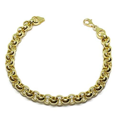Preciosa pulsera para hombre o mujer de oro amarillo de 18k tipo rolo de 7mm de ancha y 20.00cm de larga. Cierre mosquetón grande para máxima seguridad.11.15gr de oro de 18k