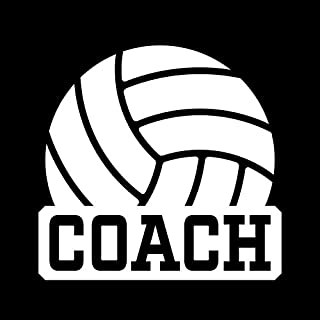 Volleyball Coach Vinyl Decal Sticker | Cars Trucks Vans Windows Walls Cups Laptops | White | 5 X 4.8 Inches | KCD2004