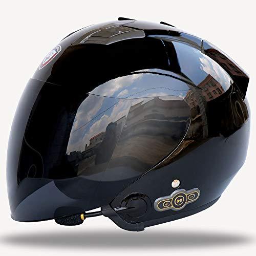 Lycoco Integrado Auricular Bluetooth Casco de Motocicleta con un micrófono Incorporado en los Altavoces duales Negro Brillante,Black Lens,L