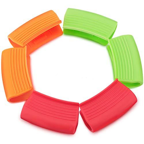 3 Paare Silikon Assist Griff Halter Heißgriff Halter Hülsen Wärmeisolierter Topfgriff Verbrühungssicherer Pfannen Griffdeckel für Gusseisen Bratpfannen Ofenschalen (Rot, Orange, Grün)