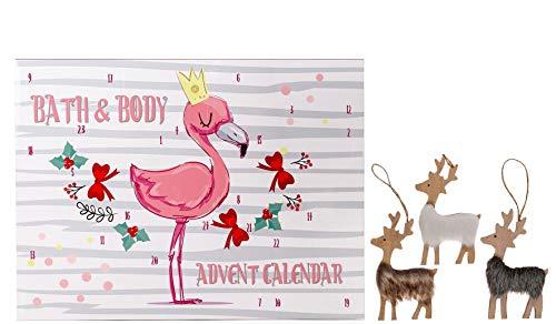 Wellness Beauty Flamingo Adventskalender Weihnachtskalender für Mädchen 2019 mit 24 Bade- Körperpflege und Kosmetik Produkten für eine Abwechslungsreiche und Stylische Adventszeit