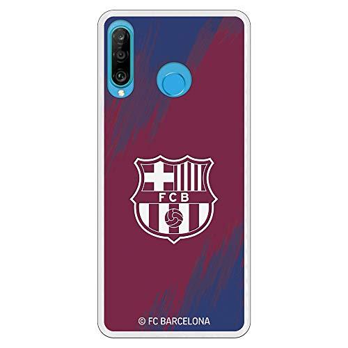 Funda para Huawei P30 Lite Oficial del FC Barcelona - Escudo Blanco...