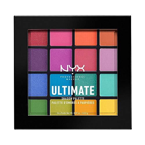 NYX Professional Makeup Ultimate Shadow Palette, Lidschattenpalette, 16 Farbtöne, Schimmernd und Metallisch, Individuelles Finish, Farbton: Brights