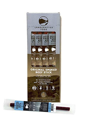 Landcrafted Food | 100% Grass Fed Beef Jerky Sticks - 4 Individually Wrapped .9 Ounce Stick Snack Packs - Farmer Owned, Hormone Free, High Protein with Low Carbs (Original Smoked)
