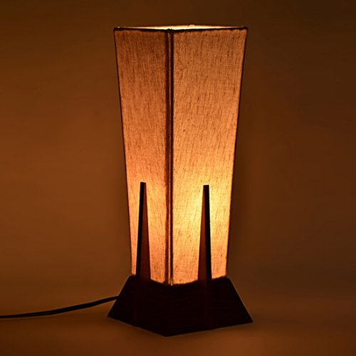 ExclusiveLane Sheesham Wood and Cotton, Polyvinyl Table Lamp for Living Room Bedroom Bedside Lamp, Brown and Off White, 1 Lamp